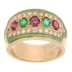 Handcraft Yellow Gold 14 Carats Rubies Emeralds Diamonds Green Enamel Band Ring