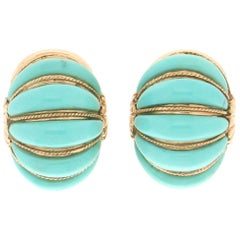 Handcraft Yellow Gold 14 Karat Turquoise Clip-On Earring