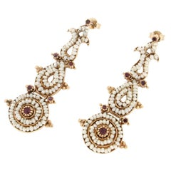 Handcraft Yellow Gold 9 Carats Micro Pearls Rubies Drop Earring