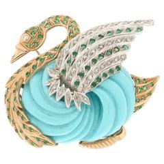 Handcraft Yellow White Gold 14 Carats Emeralds Diamonds Turquoise Swan Brooch