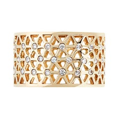 Handcrafted 0.19 Carat Diamonds 18 Karat Yellow Gold Band Ring