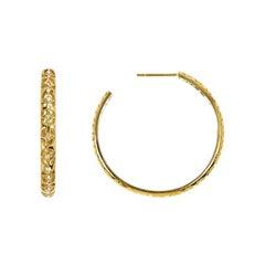 Handcrafted 0.19 Carat Diamonds 18 Karat Yellow Gold Hoop Earrings