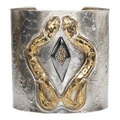Handcrafted 0.20Karat Diamonds 18 Karat Gold Plated Silver Bronze Snake Bracelet