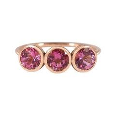 Handcrafted 1.50 Carats Pink Tourmalines 18 Karat Rose Gold Three-Stone Ring
