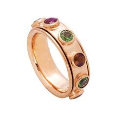 Handcrafted 1 Karat Tourmaline and Garnet No Stress Rose Gold Band Ring