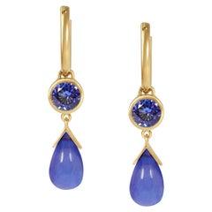 Handcrafted 1.10 & 4.00 Carats Tanzanite 18 Karat Yellow Gold Drop Earrings