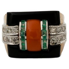 Handcrafted 14 Karat Rose and White Gold, Diamonds, Emeralds, Coral, Onyx Ring