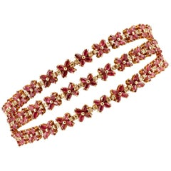 Handcrafted 14 Karat Rose Gold Diamonds, Rubies, Vintage Bracelet