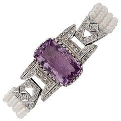 Handcrafted 14 Karat White Gold, Diamonds, Amethyst, Pearls, Link Bracelet