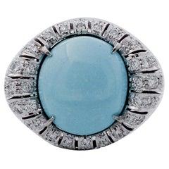 Handcrafted 14 Karat White Gold, Turquoise, Diamonds, Ring