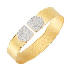 Handcrafted 14 Karat Yellow Gold Cuff Bracelet