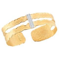 Handcrafted 14 Karat Yellow Gold Cutout Cuff Bracelet