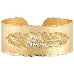 Handcrafted 14 Karat Yellow Gold Filigree Cuff Bracelet