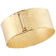 Handcrafted 14 Karat Yellow Gold Hammered Buckle Closure Cuff Bracelet