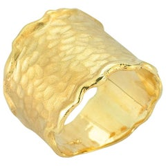 Handcrafted 14 Karat Yellow Gold Hammered Cigar Ring