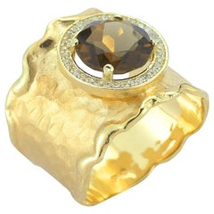 Handcrafted 14 Karat Yellow Gold Hammered Color Stone Cigar Ring