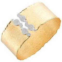 Handcrafted 14 Karat Yellow Gold Hammered Cuff Bracelet