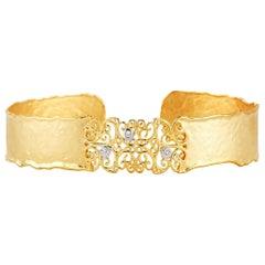 Handcrafted 14 Karat Yellow Gold Hammered Filigree Cuff Bracelet