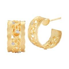 Handcrafted 14 Karat Yellow Gold Hammered Filigree Hoop Earrings