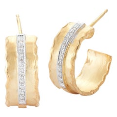 Handcrafted 14 Karat Yellow Gold Hammered Hoop Earrings