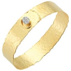 Handcrafted 14 Karat Yellow Gold Hammered Narrow Button Cuff Bracelet