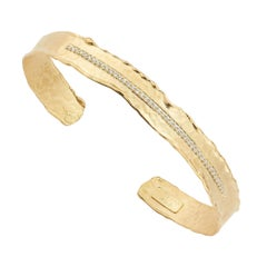Handcrafted 14 Karat Yellow Gold Hammered Narrow Cuff Bracelet