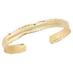 Handcrafted 14 Karat Yellow Gold Hammered Narrow Cuff Bracelet