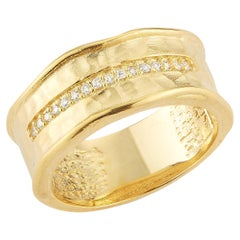 Handcrafted 14 Karat Yellow Gold Hammered Narrow Ring