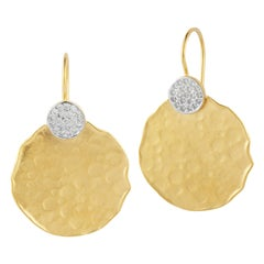 Handcrafted 14 Karat Yellow Gold Hammered Round-Shaped Earrings