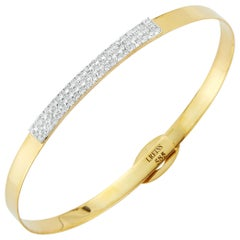 Handcrafted 14 Karat Yellow Gold ID Bangle Bracelet