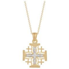 Handcrafted 14 Karat Yellow Gold Jerusalem Cross Pendant