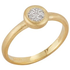 Handcrafted 14 Karat Yellow Gold Matte-Finished Round Top Ring