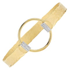 Handcrafted 14 Karat Yellow Gold Open Circle Narrow Cuff Bracelet