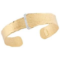 Handcrafted 14 Karat Yellow Gold Open Cuff Bracelet