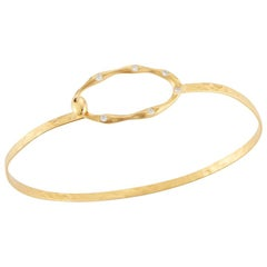 Handcrafted 14 Karat Yellow Gold Open Oval Bangle Bracelet