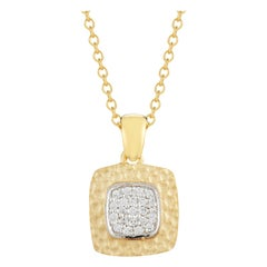 Handcrafted 14 Karat Yellow Gold Square-Shaped Pendant