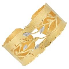 Handcrafted 14 Karat Yellow Gold Vine Leaf Cuff Bracelet