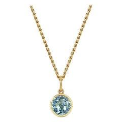 Handcrafted 1.35 Carat Aquamarine 18 Karat Yellow Gold Pendant Necklace