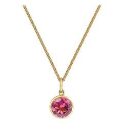 Handcrafted 1.30 Carats Pink Tourmaline 18 Karat Yellow Gold Pendant Necklace