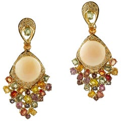 Handcrafted 14 Karat Gold, Coral, Colored Sapphires, Diamonds, Dangle Earrings