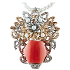 Handcrafted 14Kt White and Rose Gold Coral Diamonds Pearls Flower Basket Pendant