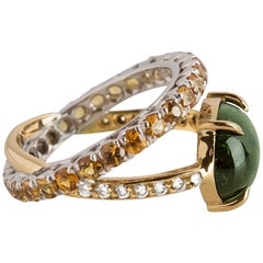 Handcrafted 18 Karat Gold 0.10 Karat White Diamonds Sapphires Tourmaline Ring