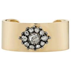 Handcrafted Ashlyn Rose Cut Diamond Cuff by Single Stone