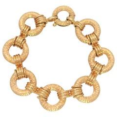 Handcrafted 18 Karat Gold Hammered Link Bracelet