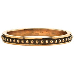 Handcrafted 18 Karat Gold Ladies Band with Bead Detail