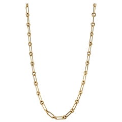 Handcrafted 18 Karat Gold Oval and Round Link Necklace