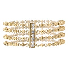 Handcrafted 18 Karat Gold Rosary Chain Bracelet with 0.66 Carat Accent Diamonds