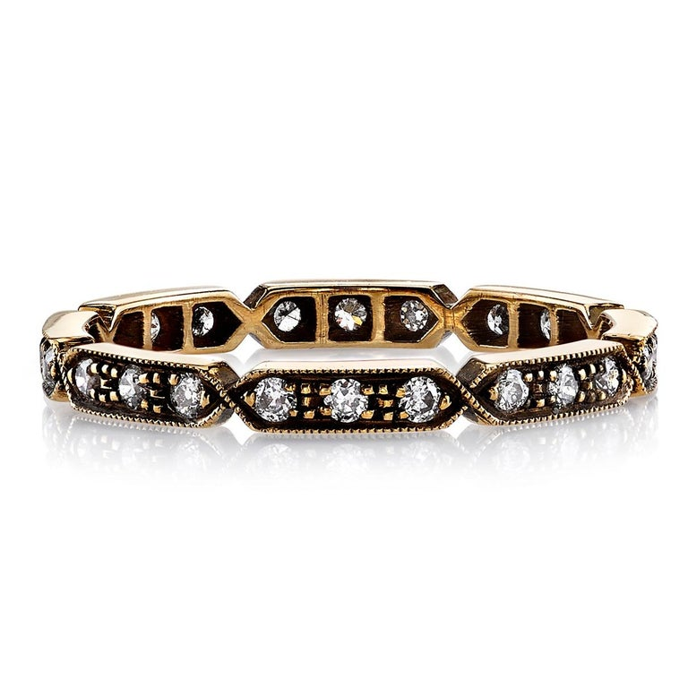 Approximately 0.30ctw old European cut diamonds set in a handcrafted sectional 18k gold eternity band. Available in an oxidized or polished finish.  All of our jewelry is individually made to order in Los Angeles, please allow 6-8 weeks for