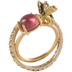 Handcrafted 18 Karat Gold Yellow Sapphires Black&White Diamonds Tourmaline Ring