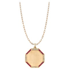 Handcrafted 18 Karat Rose Gold Octagon Pendant with Diamonds and Rubies